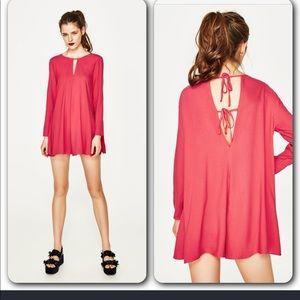 NWT Zara pink long sleeve flowy romper dress